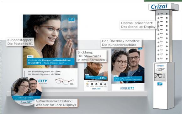Attraktive Werbematerialien sorgen für die richtige Inszenierung im Geschäft. Bilder: Quelle Essilor