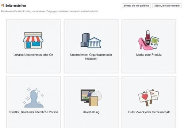Die unterschiedlichen Arten von Seiten, die von Facebook angeboten werden