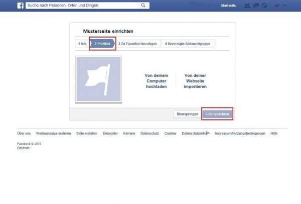 Auf dieser Seite haben Sie die Möglichkeit, das gewünschte Profilbild für Ihre Unternehmensseite hochzuladen