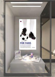 """MPG&E-Kampagne """"Für Fans"""" - die Schaufenster-DekoMPG&E-Kampagne """"Für Fans"""" - die Schaufenster-Deko"""