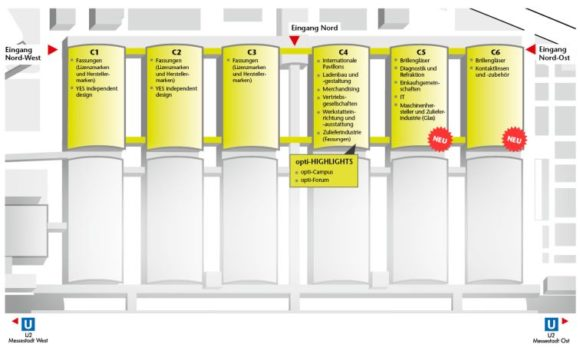 Hallenplan der opti 2019