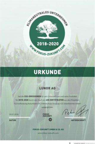 Lunor: Urkunde für klimaneutrales Unternehmen