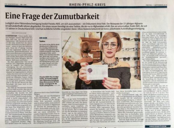 Der Zeitungsartikel in der Rheinpfalz