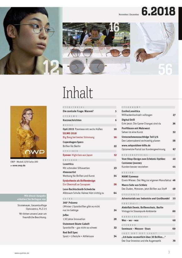 eyebizz Ausgabe 6.2018 Inhaltsangabe