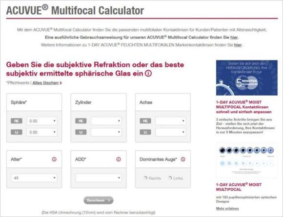 Johnson & Johnson Vision - Acuvue Multifocal Calculator - für Presbyopie-Kontaktlinsen