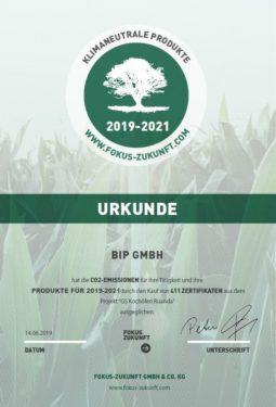 BiP - Urkunde - komplett klimaneutral bis 2021