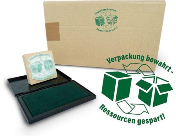 Koberg und Tente - Stempel für gebrauchte Verpackung