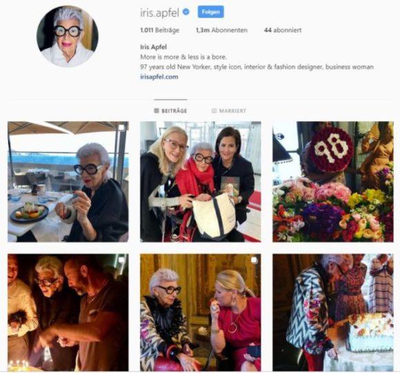 Iris Apfel auf Iinstagram