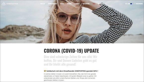 Einstoffen: Landing Page zur Corona-Aktion für Augenoptiker