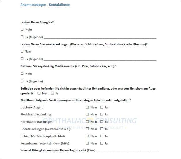 Trockenes Auge und Kontaktlinsen - Tanja Leideck - Auszug Anamnesebogen
