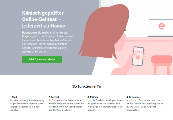 Online Sehtest bei Mister Spex
