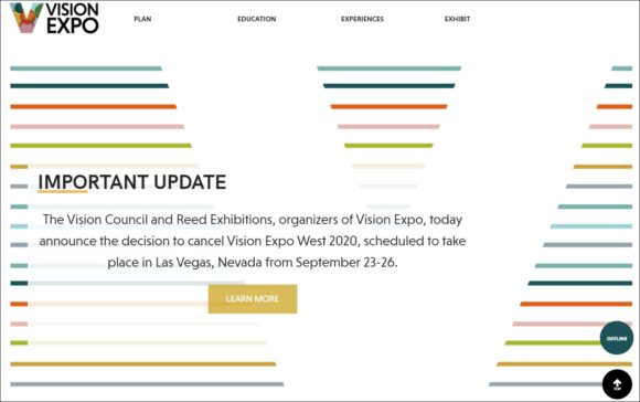Vision Expo West - September 2020 cancelled - Website