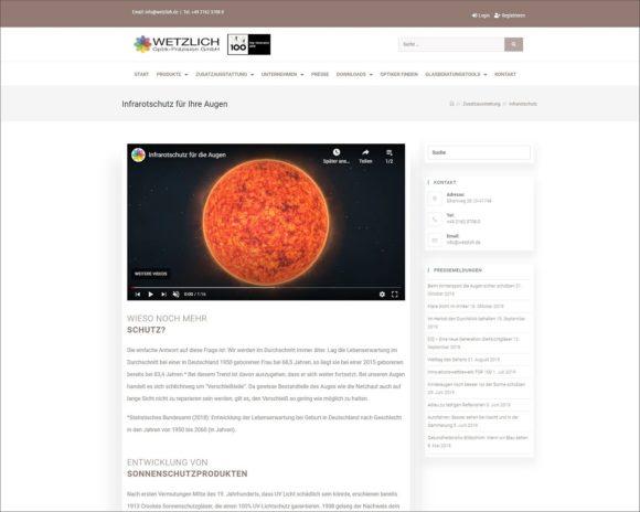 Wetzlich - Relaunch Website - Infos Infrarotschutz