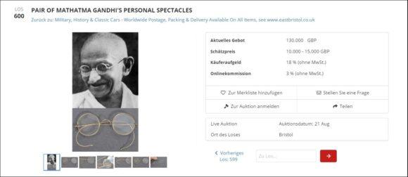 Auktion der Gandhi-Brille - East Bristol Auctions - Aug 21 2020