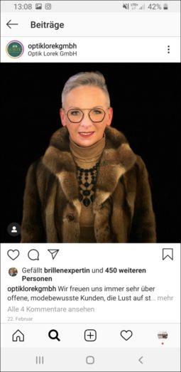 Waldminghaus - Optik Lorek Instagram-Screenshot Frau
