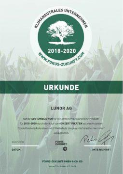 Lunor - Urkunde klimaneutrales Unternehmen