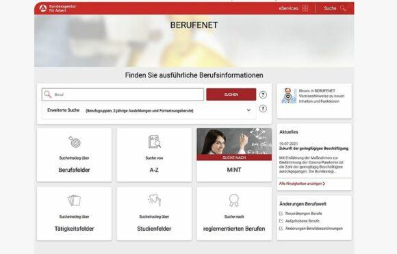 VerwirImage Augenoptik BERUFENETend unübersichtlich: die Seite BERUFNET der Bundesagentur für Arbeit
